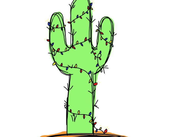 Cactus Christmas Card, Cactus Doodle, made on recycled paper, card pack comes with envelope and seal