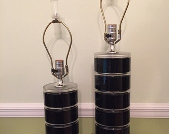 STACKED LUCITE PAIR of LaMPS Black and Clear by Optique Mid Century Modern, Modernism, Minimalsit at Modern Logic