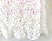 Crochet Baby Blanket Handmade Girls Blanket White Pink Chevron Striped Knit Stroller Size Blanket 32 x 30 Inches