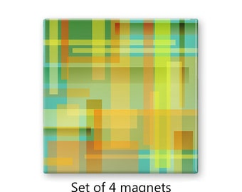 Color blocks magnet set, teal refrigerator magnets, yellow fridge magnets, set of 4 decorative magnets, kitchen decor, large magnets