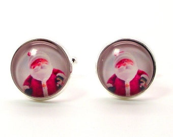 Santa Cufflinks – Christmas Cufflinks – Holiday Cufflinks