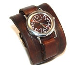 Leather Watch Cuff - Brown