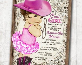 Cowgirl Baby Shower Invitation For Girl - Vintage Cowgirl -  DIY Printable