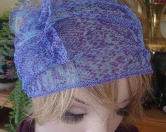 Womens headband adult blue lilac snakeskin mesh wide Headband adult headband with ruffle bow