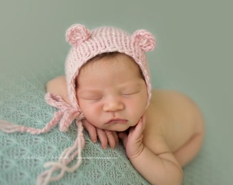 Pink Knit Bear Bonnet, Adorable Photography Prop for Newborn and Ready to Ship