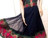Ethnic India Dress with Sheer Overlay. Chanderi Art Silk Embroidered Dress. Vintage Salwar Dress.  Wearable Art.