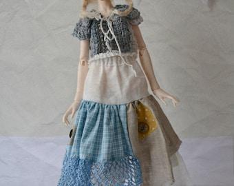 Patchwork Morigirl set, skirt and top for slim mini BJD, like Unoa, Minifee, Dollzone, Elfdoll mini etc.