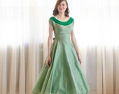 Vintage 1950s Party Dress - Green 50s Dress - Lucky Charm Dress