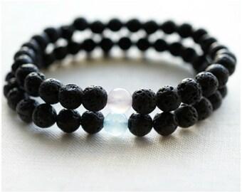 Boho Jewelry Gift Couple Bracelets His and Hers Bracelet Set Essential Oil Diffuser Bracelets Black Lava Rose Quartz Aquamarine Yin Yang