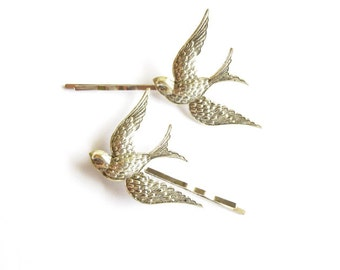 Silver Bird Bobby Pins Bridal Hair Clips Nature Free Spirit Boho Bohemian Bridesmaid Woodland Winter Wedding Accessories Womens Gift For Her