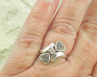 Sterling and Marcasite Heart Ring