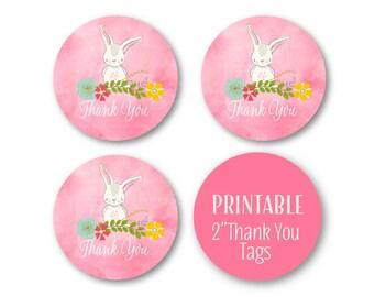 ThanK You Bunny Circles, Printable Favour Tags,  Bunny Woodland Birthday Decor,  Printable 1516pink