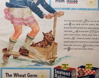 Vintage Magazine Ad 1945-Paper-Ephemera-Ads-Ralston Cereal Ad