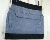 BLUE SKIRT - Boho Skirt - Cotton Skirt - Blue Mini Skirt - Short Skirt - Upcycled Clothing - Womens Skirt - Sweater Skirt - Vegan Clothing
