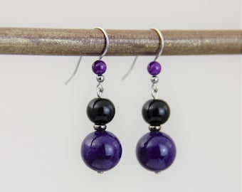 Purple Drops - Purple Black Glass Gunmetal Silver Dangle Earrings - Purple Black Simple Casual Short Small Earrings