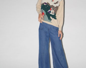Vintage 1950s Cashmere  Novelty Norwegian Winter Cabin Sweater - Vintage Cashmere Sweater - Vintage Novelty Jumper  - WT0217