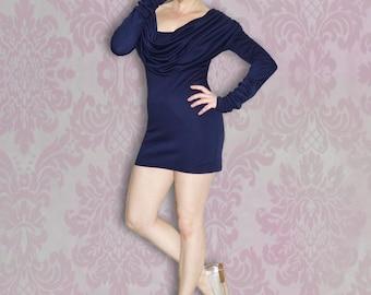 Draped Cowl Neck Sweater Dress