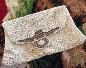 Vintage 1920s 1930s Purse Clutch Handbag Dance Evening Wedding Prom Bag Off White & Pewter Color Beads Snaps Closed