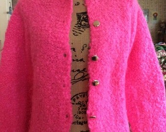 Vintage 1960s Sweater Button Down Cardigan Bubble Gum Pink De Mura Made In Italy Wool Nylon