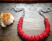 Red stone disk statement necklace, rustic orange beaded strand necklace