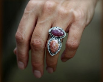 Good Earth Ring - Ruby, Ocean Jasper, Recycled Sterling & Fine Silver - Talisman, Nature, Leaves, Double Stone, Statement Ring, Boho, Rustic