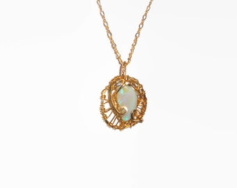 Wire Wrapped Solid Lightning Ridge Opal Pendant & Necklace 5.5cts