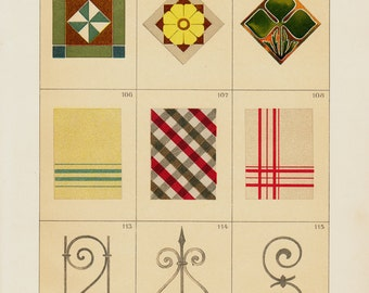 1903 Antique DECORATIVE ARTS print, pattern and metal Ornament,  architeture designs, chromolithograph