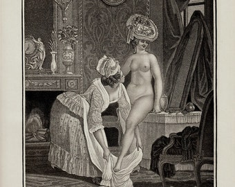 MATURE 1913 Rare antique Curiosa art print, Nude woman before bath, old engraving