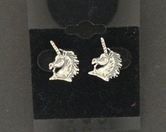 Unicorn Head Earrings in Sterling Silver