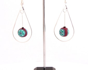 Green Flower Burgundy Beads, Chandelier Earrings, Sterling Silver, Polymer Clay, Supremily Jewellery