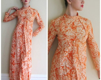Vintage 1960s 1970s Batik Print Orange Robe India Import Rhodes Island / 60s 70s Hippie Dressing Gown Maxi Dress Abstract Floral Print / S