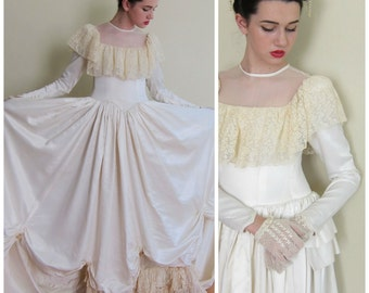 Vintage 1940s Long Sleeved Wedding Dress with Crochet Lace Ruffles / 40s Princess Style Bridal Gown in Satin and Crochet / XS