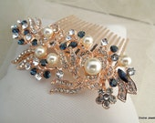 pearl Bridal Rhinestone Hair Comb Wedding Rhinestone Hair Comb Rose Rhinestone Hair Comb Swarovski Crystal Something Blue Hair Comb ROSSE