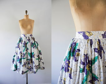 1970s Lily Valley cotton garden skirt / 70s fit n' flare
