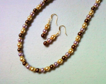 Lavender, Gold and Brown Pearl Necklace and Earrings (0436)