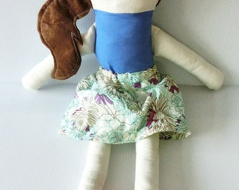 Amanda Doll Handmade Traditional Plush Doll Blue Floral Retro Dress