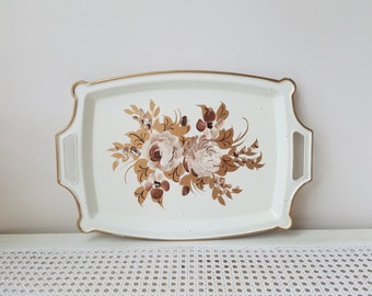 Vintage Metal Tray Hand Painted Tole Flowers, White Gold Brown, Shabby Cottage Floral