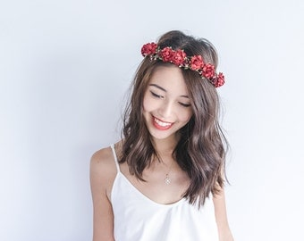deep red burgundy floral headpiece // flower crown hair wreath, winter wedding maroon aubergine eggplant red hair accessory