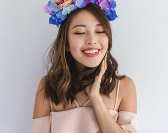 pink purple blue statement flower headband // floral headpiece, garden nature spring summer, spring races, flower crown
