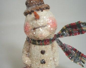 Snowman Paper Mache Folk Art Whimsical