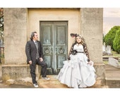 Gray Gothic Wedding Dress Custom Made to your Measurements