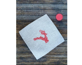 Red Deer Linen Napkin 18 or 22 inch, Luxury Natural Gray Large Clother Dinner Serviette, Festive Holiday Christmas in July