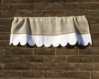 Kitchen Valance, Natural Sheer Linen Window Topper, 36 inches Wide, White French Cantonniere , White Grapevine Embroidery