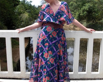 Poppy, Floral Print, 1970s, Navy and Coral, Butterfly Sleeves, Long Maxi Dress