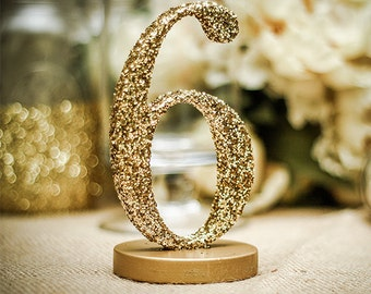 Glitter Table Numbers for Wedding Decor, Table Number Signs for Wedding Table Decor, Freestanding Gold Table Numbers Wedding (Item - GLI130)