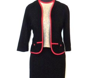 vintage wool skirt suit - 1950s-60s black/red/grey knit wool skirt set