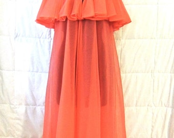 vintage lingerie robe - 1960s salmon sheer ruffled bed jacket robe