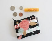 coin pouch -- striped floral