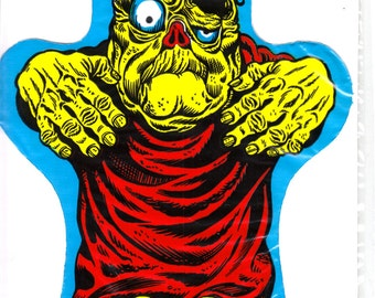 Vintage 1966 Frankenstein Monster Plastic Hand Puppet - Advertising Collectible - HUM-DINGER TREATS - Rare