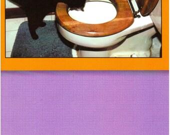 Halloween Greeting Card - Black Cat - Toilet - Privy - Latrine - Pissoir - Toilette - Unused